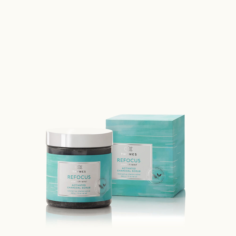 Thymes Juniper Mint Activated Charcoal Scrub is a Natural Body Scrub image number 0